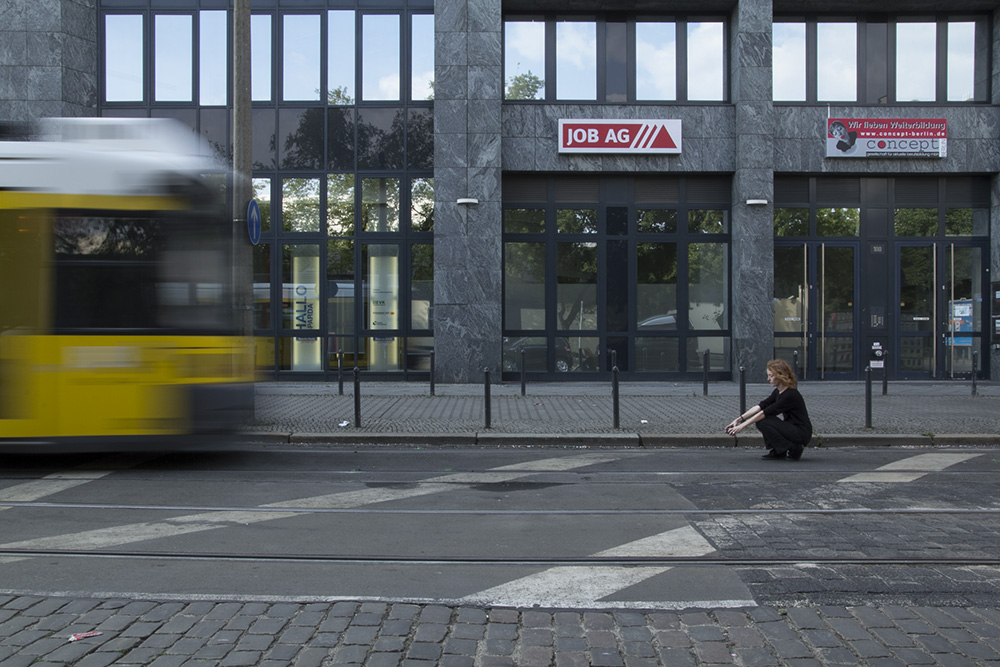 Terminus Loop (Warschauer Str.), performance still, Berlin, July 2013. Performer: Melanie Irwin. Photo: Richard Rocholl